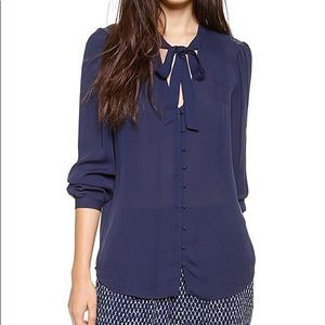 Joie navy blue silk blouse